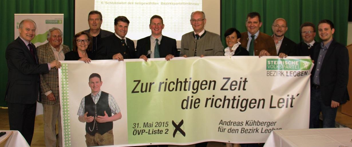 LR Hans Seitinger, i.d.M. Bezirksparteiobmann und Spitzenkandidat für die LTW Bgm. Andreas Kühberger mit hochrangigen FunktionärInnen der ÖVP